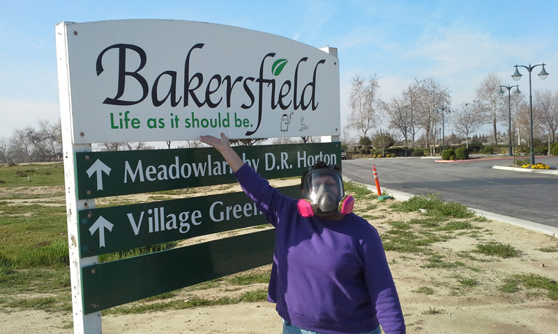 Wearing A Respirator In Bakersfield Where The Town Motto