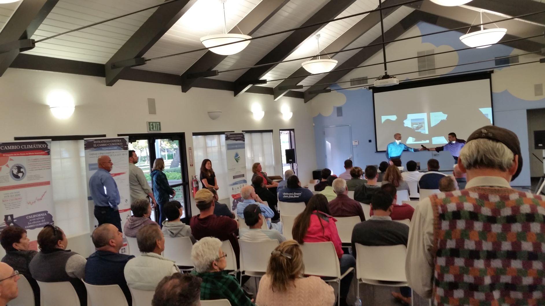 Room full of community members at SNAPS air monitors launch