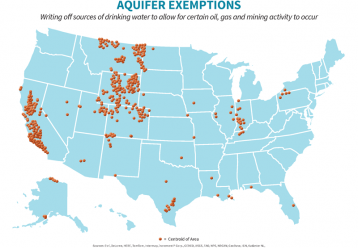 US Map with Aquifer Exemptions plotted