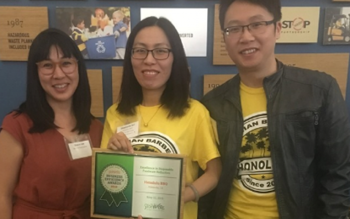 Grace Lee with Honolulu BBQ Business Owners at StopWaste Award Ceremony